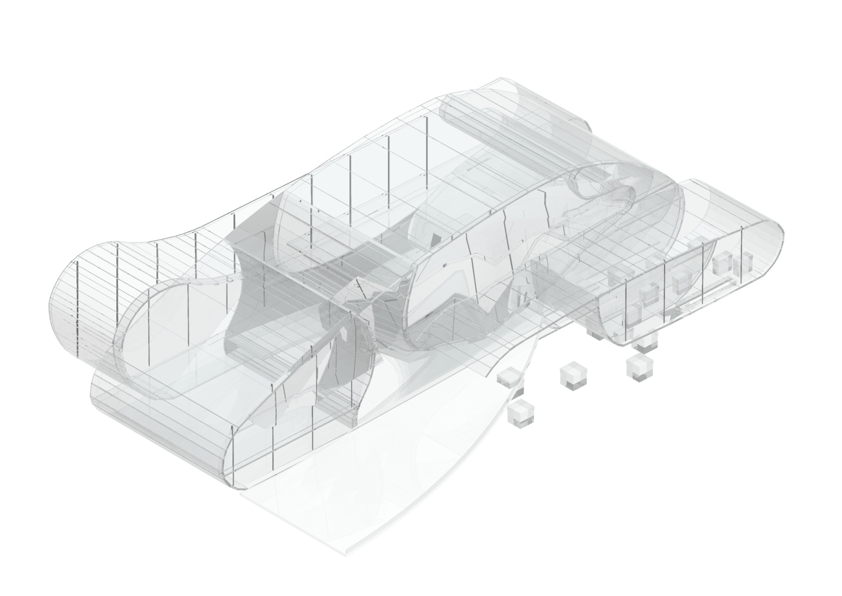 Translucent modern architecture concept